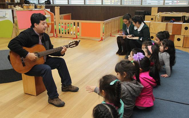 Niños y niñas del nivel Medio Mayor B conocieron distintos instrumentos, como el cajón peruano, la guitarra y la flauta, en una entretenida y fructífera jornada, que se extenderá a lo largo del semestre.