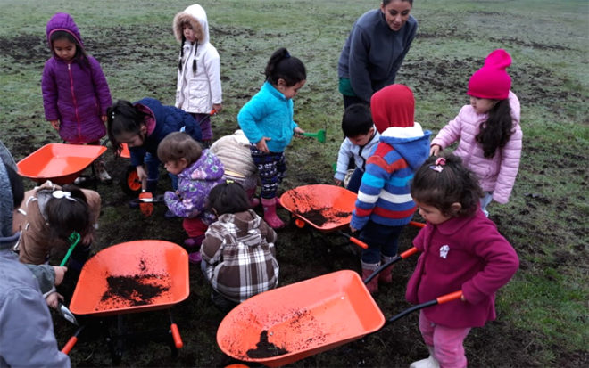 """Niños y niñas del jardín infantil """"Relmu Wepul"""" de Paillaco implementaron un invernadero en el patio exterior del recinto educativo."""