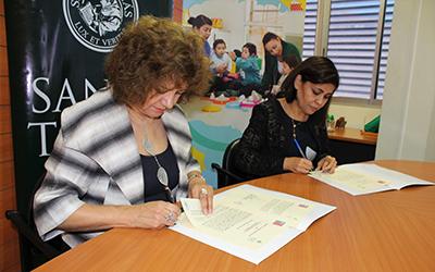 El convenio, permitirá a los estudiantes del IP-CFT Santo Tomás efectuar sus prácticas educacionales, laborales y profesionales en la Dirección Regional y/o en los jardines infantiles de la JUNJI.