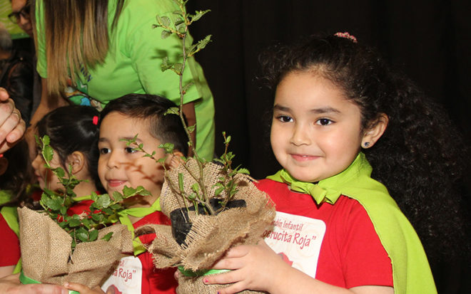 Niñas y niños fueron investidos con sus capas en una masiva ceremonia que se realizó en el Centro Integral de la Junji en Punta Arenas, luego del trabajo efectuado en aula en cuanto reciclaje, cuidado de las mascotas y trabajo con materiales naturales.