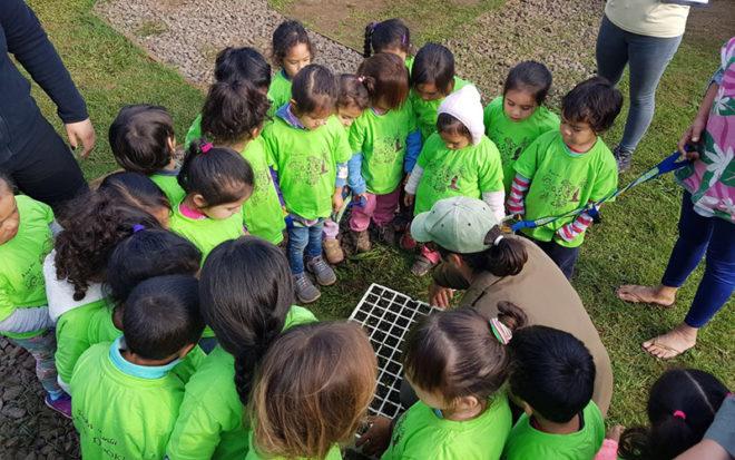 En la Primera Cumbre de Gobiernos locales por el cambio climático Rapa Nui 2018, el jardín isleño de la Junji Valparaíso fue el único establecimiento educacional invitado y expuso sus acciones para promover el cuidado del medio ambiente.