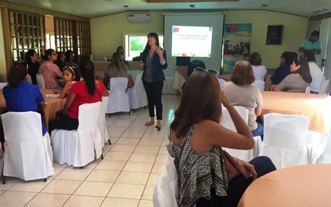 El encuentro, organizado por la Unidad de Participación Ciudadana y la Subdirección Técnica de la Junji tuvo como exponentes a las nutricionistas Marcia López, del Departamento de Salud Pública y Planificación Sanitaria de la Seremi de Salud, y a Gabriela Sanhueza.